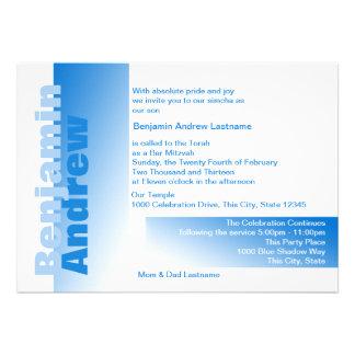 Sombras de la barra azul Mitzvah Invitación Personalizada