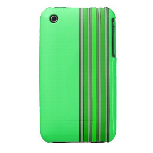 Sombras de la caja verde de las rayas verticales Case-Mate iPhone 3 carcasa