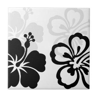 Sombras de la flor negra del hibisco azulejo cuadrado pequeño