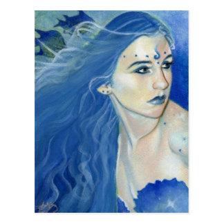 Sombras de la sirena de la postal azul