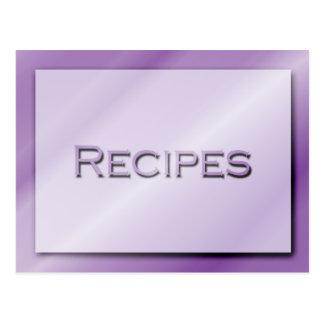 Sombras de la tarjeta púrpura de la receta postal