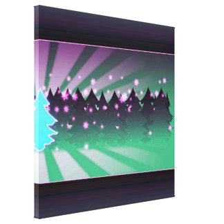Sombras de los árboles de navidad del verde impresión en lienzo