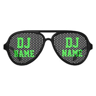 Sombras de neón del nombre del disc jockey del lentes de fiesta