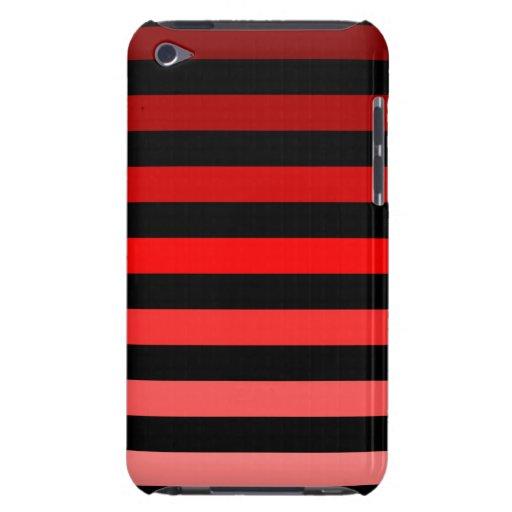 Sombras de rayas rojas en negro Case-Mate iPod touch fundas