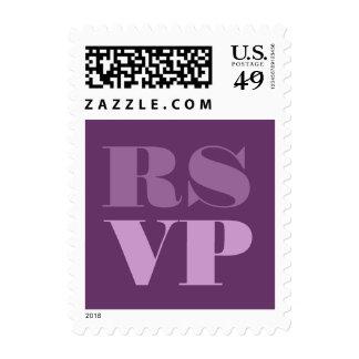 Sombras de RSVP púrpura que casan el sello