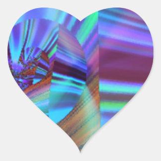 Sombras del arte azul y púrpura del fractal calcomanía corazón personalizadas
