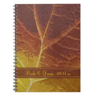 Sombras del boda del otoño libros de apuntes con espiral