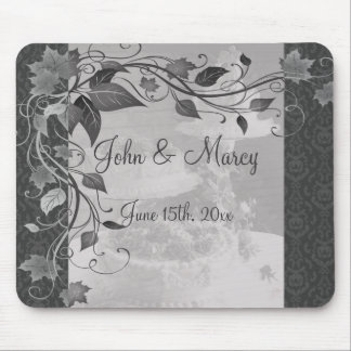 Sombras del damasco gris del pastel de bodas tapete de raton