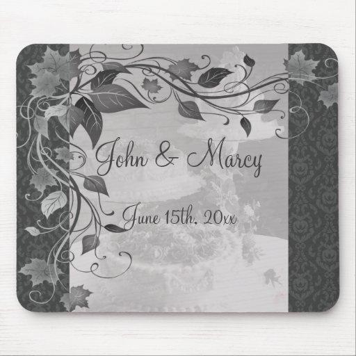 Sombras del damasco gris del pastel de bodas alfombrilla de raton