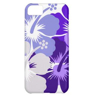 Sombras del diseño azul del hibisco funda para iPhone 5C
