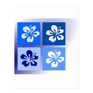 sombras del diseño azul del hibisco postales