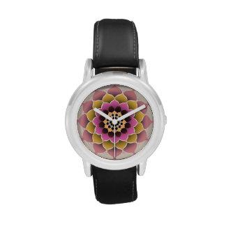 Sombras del diseño rosado de la mandala relojes de mano