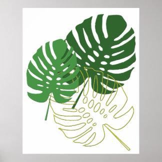 Sombras del follaje tropical verde póster