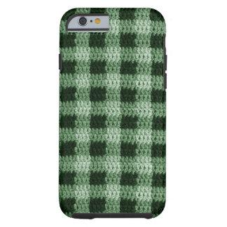 Sombras del ganchillo verde de la tela escocesa funda resistente iPhone 6