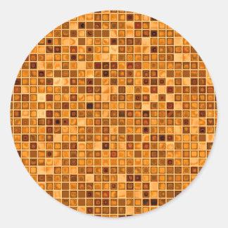 """Sombras del modelo """"acuoso"""" de la teja de mosaico  pegatina redonda"""