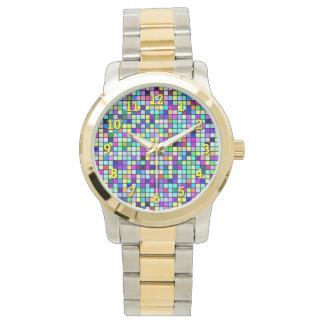 Sombras del modelo multicolor de los cuadrados de relojes de mano