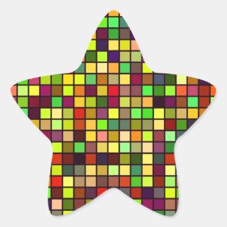 Sombras del modelo multicolor de los cuadrados del pegatina en forma de estrella