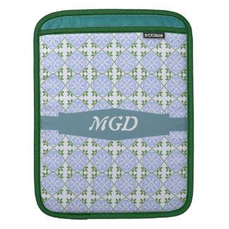 Sombras del monograma azul y verde del estampado d manga de iPad