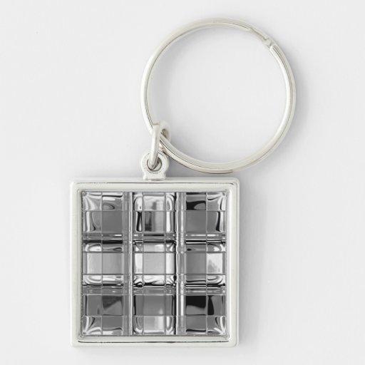 Sombras del mosaico de cristal gris llavero personalizado