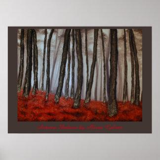 Sombras del otoño del artista Alison Galvan Póster