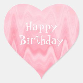 Sombras femeninas del feliz cumpleaños de la goma pegatina en forma de corazón