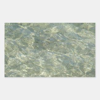 Sombras grises, de oro del agua rectangular pegatina