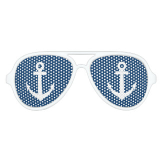 Sombras náuticas azules y blancas divertidas del lentes de sol