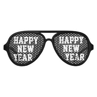 Sombras negras del fiesta de la Feliz Año Nuevo Lentes De Fiesta