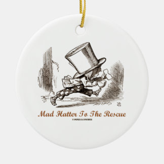 Sombrerero enojado al rescate (sombrerero enojado adorno redondo de cerámica