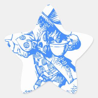 Sombrerero enojado azul pegatina en forma de estrella