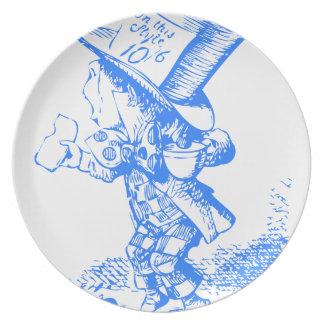 Sombrerero enojado azul plato de cena
