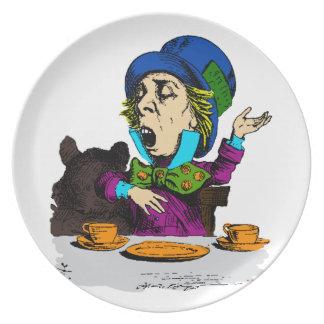 Sombrerero enojado en el té de Alicia en el país Plato Para Fiesta