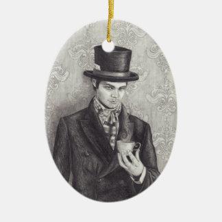 Sombrerero enojado - ornamento adorno navideño ovalado de cerámica