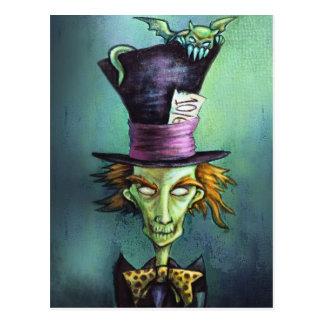 Sombrerero enojado oscuro de Alicia en el país de  Postal