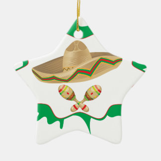 Sombrero and Maracas 2 Ceramic Ornament