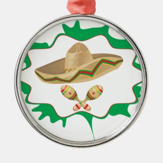 Sombrero and Maracas 2 Metal Ornament