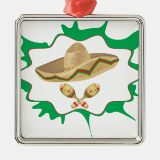Sombrero and Maracas 2 Metal Ornament