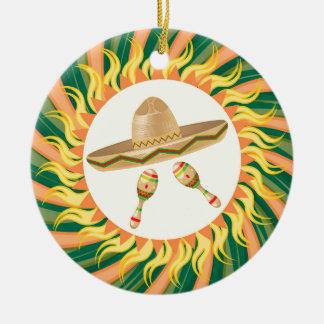 Sombrero and Maracas 3 Ceramic Ornament