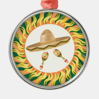 Sombrero and Maracas 3 Metal Ornament