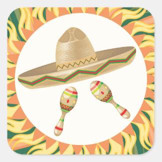 Sombrero and Maracas 3 Square Sticker
