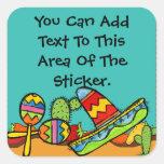 Sombrero and Maracas Button Square Stickers