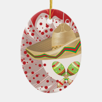 Sombrero and Maracas Ceramic Ornament