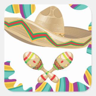 Sombrero and Maracas Square Sticker