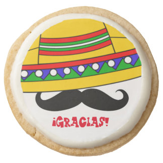 Sombrero and Mustache Thank You Round Shortbread Cookie