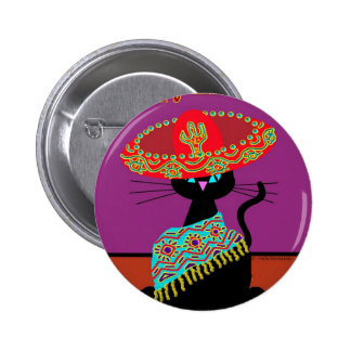 Sombrero Cat Brother Button