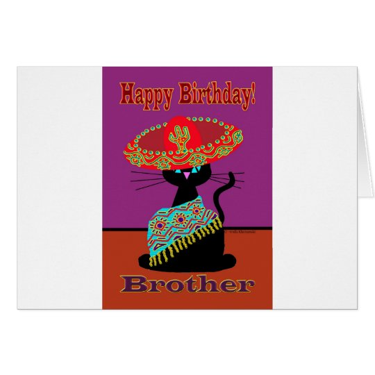 Sombrero Cat Brother Card