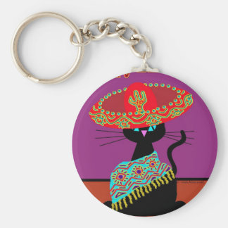 Sombrero Cat Dad Keychain