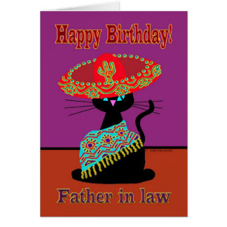 Sombrero Cat Father in law Card