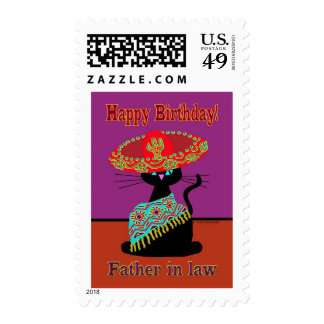 Sombrero Cat Father in law Postage Stamps