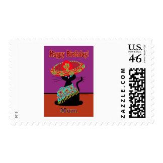 Sombrero Cat Mom Postage Stamp
